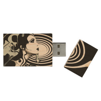 Spiral USB, 8gb, Rectangle Wood USB Flash Drive