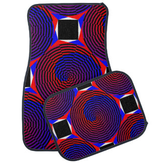 Spirale rouge et bleue tapis de voiture
