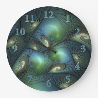 Spirals Beige Green Turquoise Fantasy Fractal Clock