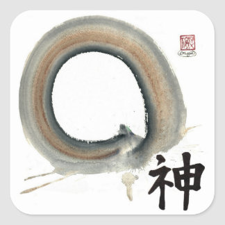 Spirit Enso, Kanji for spirit Square Sticker