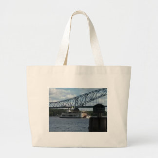 Spirit of Dubuque on Mississippi River Large Tote Bag