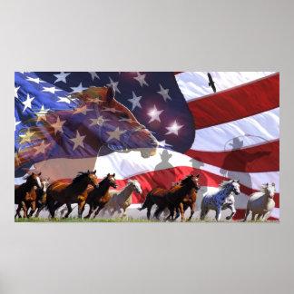 Spirit of Freedom Cowboy Western Horses Poster art