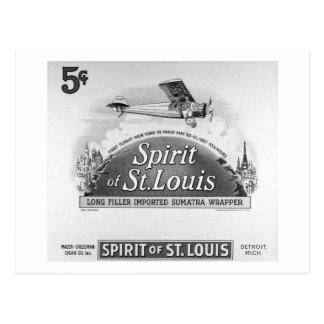 Spirit of St. Louis Vintage Cigar Box Label Postcard