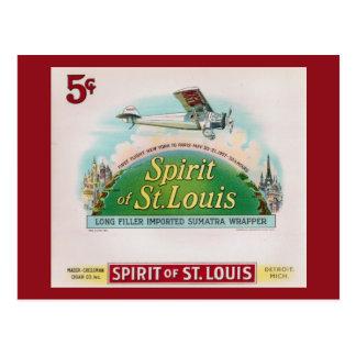 Spirit of St. Louis Vintage Cigar Label Retro Postcard