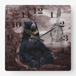Spirit of the black bear square wall clock