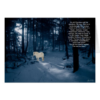Spirit Pony in a Blue Wood Greeting Card