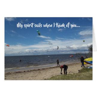 Spirit Sails Kite Surfing Thinking of You Card