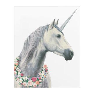 Spirit Unicorn with Flowers Around Neck Acrylic Wall Art