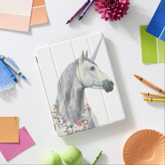 Spirit Unicorn with Flowers Around Neck iPad Cover