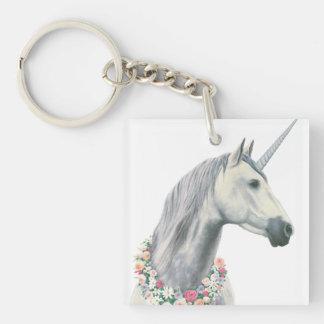 Spirit Unicorn with Flowers Around Neck Keychain