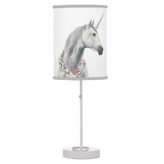 Spirit Unicorn with Flowers Around Neck Table Lamp