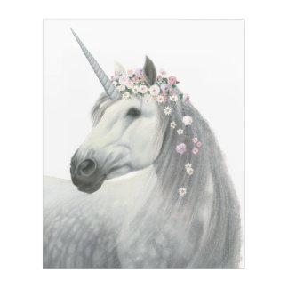 Spirit Unicorn with Flowers in Mane Acrylic Wall Art