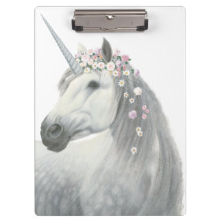 Spirit Unicorn with Flowers in Mane Clipboard