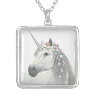 Spirit Unicorn with Flowers in Mane Silver Plated Necklace