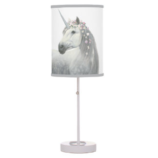 Spirit Unicorn with Flowers in Mane Table Lamp