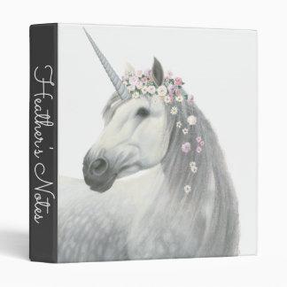 Spirit Unicorn with Flowers in Mane Vinyl Binder