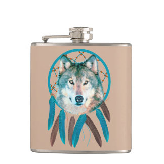 Spirit Wolf Dream Catcher Vinyl Flask