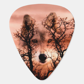 Spirit wolf face guitar pick