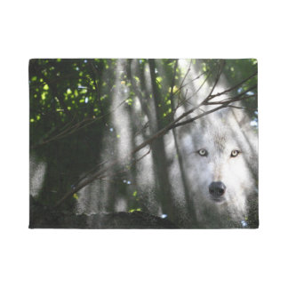 Spirit wolf in the woods doormat
