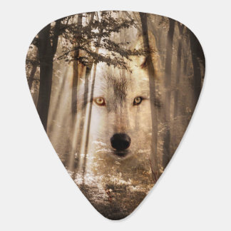 Spirit wolf in woods guitar pick