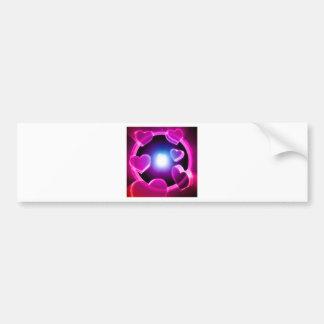 Spirited Hot Pink Glow Hearts Bumper Sticker