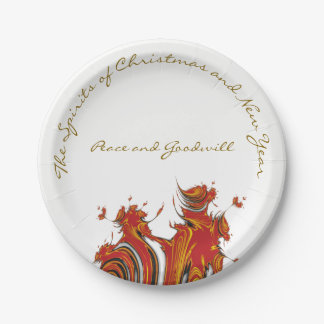 SPIRITS OF CHRISTMAS AND NEW YEAR PAPER PLATE