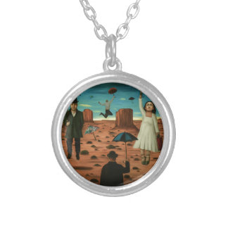 spirits of the flying umbrellas silver plated necklace