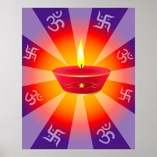 Spiritual Glowing Diwali Lamp Poster