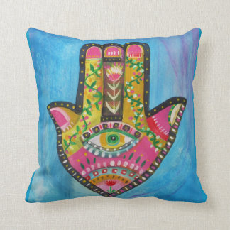 "Spiritual Hamsa Painting ""HAND of GOD"" Art Throw Pillow"
