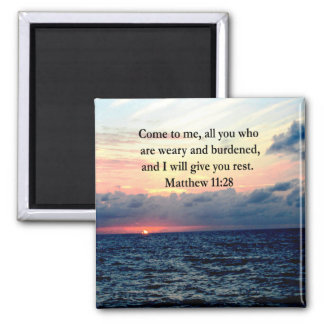 SPIRITUAL MATTHEW 11:28 SUNRISE SCRIPTURE PHOTO SQUARE MAGNET