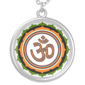 Spiritual Om Lotus Round Pendant Necklace