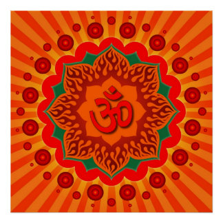 Spiritual Om On Lotus Design Poster