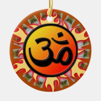 Spiritual Om Round Ceramic Ornament