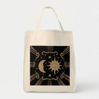 Spiritual, sun and moon tot bag design.