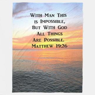 SPIRITUAL SUNRISE MATTHEW 19:26 PHOTO FLEECE BLANKET