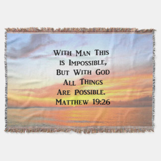 SPIRITUAL SUNRISE MATTHEW 19:26 PHOTO THROW BLANKET