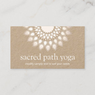 Mandala yoga teacher business cards profile cards zazzle ca spiritual white lotus flower mandala yoga teacher business card reheart Images