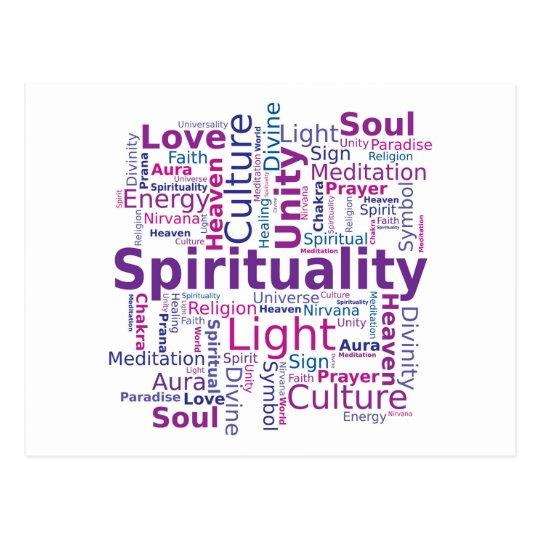 Spirituality Word Cloud - Pink Postcard