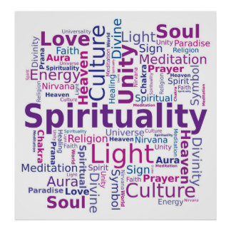 Spirituality Word Cloud Pink Purple Colors Poster