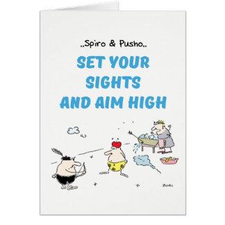 Spiro & Pusho Aim Quotes Cartoons Greeting Card