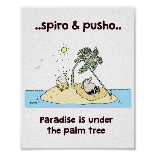 Spiro & Pusho Sea Quotes Cartoons Poster 8x10