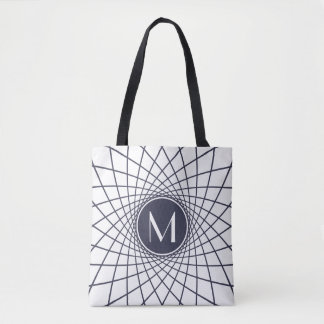 Spirograph Monogram Personalized Tote Bag
