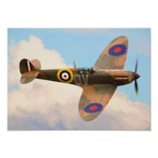 Spitfire in the clouds poster