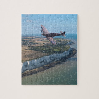 Spitfire over the English coast. Jigsaw Puzzle