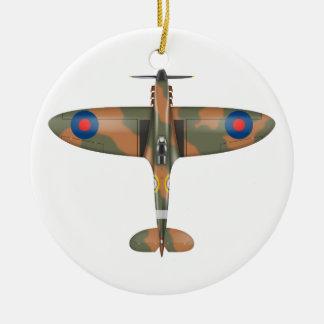 spitfire top view round ceramic ornament