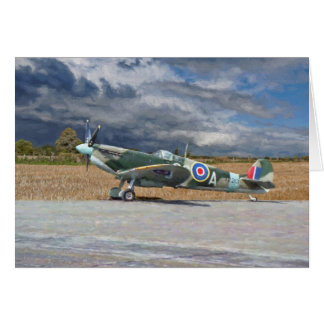 Spitfire Under Storm Clouds Card
