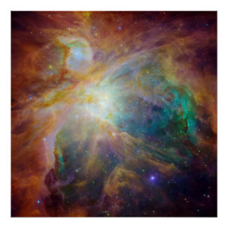 Spitzer and Hubble Create Colorful Masterpiece Poster