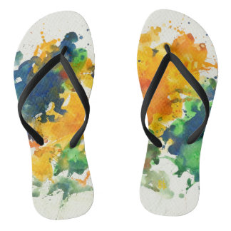 Splash Art Colorful Flip Flops