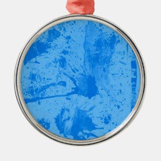splash blue Silver-Colored round ornament