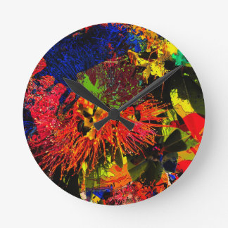 """Splash Collection"" - Pohutukawa Round Clock"